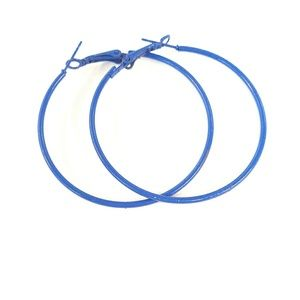 Blue Hoop earrings 2""